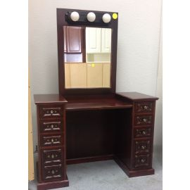 Mahogany MakeUp Desk with Lighted Mirror