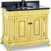 39 inch Antique White Ornate Vanity